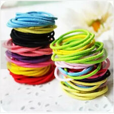 100 Pcs Mixed Colors Women Kids Elastic Hair Tie Band Rope Ring Ponytail Holder