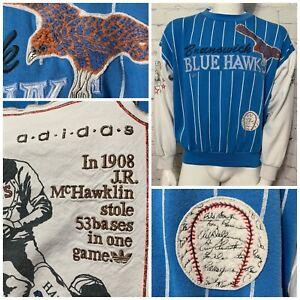 Adidas Sweatshirt Mens Small Brunswick Blue Hawks Negro Baseball League RARE