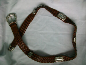 FOSSIL Womens Concho Belt Sz L Brown Braided Classic Leather