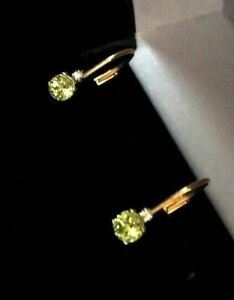 SIGNED 14K SOLID YELLOW GOLD.& PERIDOT  EARRINGS  LEVER BACK