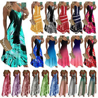 Slip V-neck Long Evening Maxi Dress Women Beach Sleeveless Swing Tunic Dresses