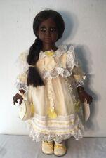 "CRACKER BARREL Vinyl Doll 22"" Soft Body Yellow Dress African American Angela"