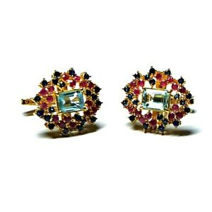 Natural Blue Topaz & Ruby Sapphire Gemstones 925 Silver Gold Plated Cufflinks