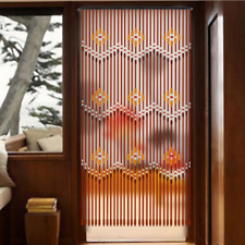 31 Lines Wooden Bead String Door Curtain Fly Screen Bath Bedroom Porch Brown US