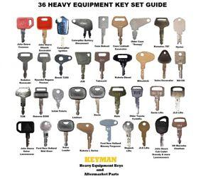 36 Heavy Construction Equipment Ignition Key Set Case Cat John Deere Komatsu JCB