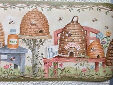 Honey Bees, Beehives Primitive Country Wallpaper Border
