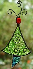 LIME GREEN CHRISTMAS TREE Stained Glass ORNAMENT HAND CRAFTED LEADLIGHT GIFTS