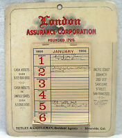 OLD LONDON ASSURANCE CORPORATION ORIGINAL 1906 CALENDAR