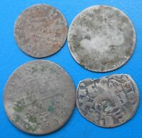 LOT de 4 monnaies royales féodales argent / billon différentes PETIT PRIX (A2)