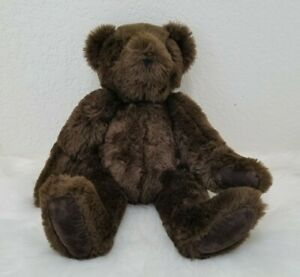 """Authentic 16"""" Vermont Teddy Bear Plush Jointed Dark Chocolate Brown"""
