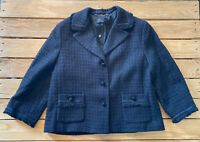 NWT $199 Talbots Women's Long Sleeve button up jacket blazer size 14P Black F9