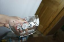 """7 Avon 24% Crystal White Frosted Etched Hummingbird Scene 5"""" Cereal Salad Bowls"""