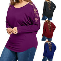 Women Casual Oversize Tee Loose Long Sleeve Lace Patchwork Plus Size Tops Blouse