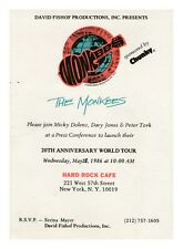 THE MONKEES 20th Anniversary World Tour - Hard Rock Cafe vtg 1986 Press Release