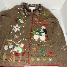 Vintage KIKIT Not Ugly Christmas Cardigan Sweater Collar Snowmen Snowflakes M
