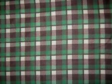 """Vintage GREEN BROWN & WHITE PLAID FLANNEL Shirting Cotton Fabric 35"""" W x 2¾ Yds"""