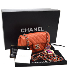 Auth CHANEL Ladybug Strawberry Charm CC Mini Quilted Chain Shoulder Bag V12916
