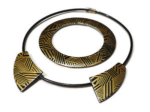 Bijou lucite collier torque et bracelet élipse necklace idéal pour cadeau