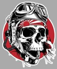 TETE DE MORT DRAPEAU JAPON BIKER RIDER 15cmX12cm AUTOCOLLANT STICKER MOTO SA204