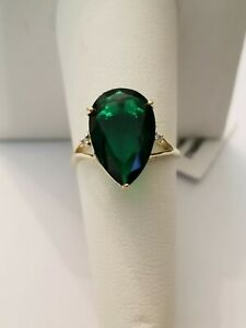 5.50 CT RUSSIAN EMERALD & (2 PCS) DIAMOND 10KT SOLID YELLOW GOLD RING SIZE 7