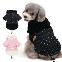 Warm Dog Winter Clothes Fleece Padded Hoodie Jacket Small Medium Dogs Coat S-XL