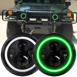 2x 7inch Round LED Headlights Green DRL Halo  Amber Turn Light for Hummer H1 H2