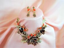STUNNING CHUNKY RUNWAY GEOMETRIC OPEN BACK LUCITE CHIC NECKLACE & EARRING SET