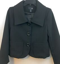H&M Women's Black Cropped Button Up Coat Jacket- Fully Lined size 6