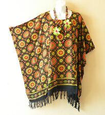 KB104 Floral Batik Plus Size Caftan Poncho Tunic Blouse Top - XL, 1X, 2X & 3X