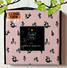 Cynthia Rowley Southwestern Pink Sheet Set with Black Cactus Twin X-Long