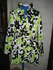 Stunning Joseph Ribkoff Lime Green, White & Black Coat sz 14 BNWOT