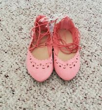 Nwt Old Navy Girls Coral Peach Pointy Ballet Style Shoes w/ Ankle Tie Sz 10 C