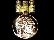 (2) 1 OUNCE .999 COPPER RED CLOUD INDIAN COINS +3 JARS 24K GOLD FLAKES
