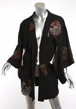 Authentic Ceremonial Japanese Kimono Black Silk Reversible Robe Jacket OS