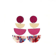 Gold Plated Leopard Acrylic Wood Semicircle Stud chandelier New Earrings