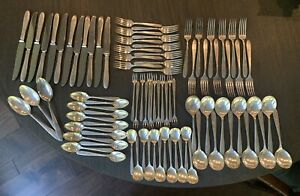 Art Deco 1921 Community Plate Silverplate Flatware Grosvenor Service for 12