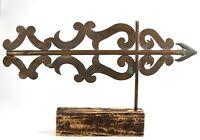 Antique Weather vane Vintage 1890's Copper solid cast arrow point scroll pattern