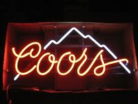 NEW COORS LIGHT MOUNTAINS BEER BAR PUB REAL GLASS NEON SIGN TAVERN DECOR