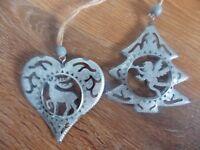 nordic/shabby chic metal christmas heart christmas star   hanging decoration