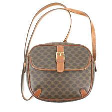 Authentic Celine Vintage Macadam Leather PVC Messenger Crossbody Bag in Brown