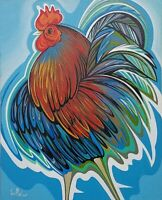 Javier Martinez Rooster 20X16 Acrylic on Canvas Cuban Art Original Painting 2018
