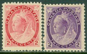 EDW1949SELL : CANADA 1898-99 Scott #76-77 Very Fine, Mint Original Gum. Cat $95.