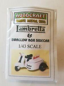 1/43 scale O gauge 1960s vintage Lambretta Scooter & Box Sidecar metal model kit