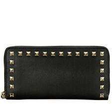 Valentino Rockstud Zip Around Continetnal Wallet - Black