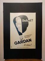 Pubblicità originale farmaco Gardan rifilatura da rivista in passepartout