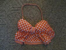 Arizona Woman Small Orange & White Checked Ruffle Halter Bikini Top Padded Bra