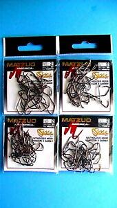 4 PACKS - MATZUO SICKLE BAITHOLDER HOOK SIZE 2  BLACK CHROME 25-COUNT PACKAGE