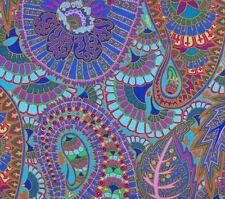 Large Remnant~BELLE EPOCH ~Kaffe Fassett ~PAISLEY~ Blue ~ Fabric ~ 110cm x 70cm