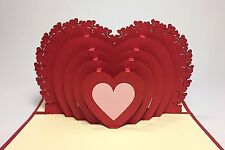 Multi-Heart PopUp Card. Handmade Romantic Love/Proposal/Wedding/Anniversary Card