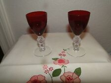 """2 Morgantown Red Golfball Cordials, 3.5"""" Tall, Exc. Cond."""